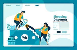 Zielseiten-Vektor-Design von Einkaufsrabatten. Design für Website, Web, Banner, mobile Apps, Poster, Broschüre, Vorlage, Werbetafel, Begrüßungsseite, Promotion, Cover, Visitenkarte, Werbung vektor