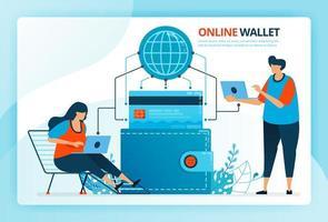 vektorillustration för onlineplånbok och kreditkortsbetalning. mänskliga vektor seriefigurer. design för målsidor, webb, webbplats, webbsida, mobilappar, banner, flygblad, broschyr, affisch