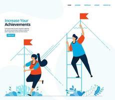vektor mänsklig illustration av öka din prestation. strategi och konkurrens för att uppnå mål. kan användas för målsida, mall, mobilapp, banner, flygblad, bakgrund, webbplats, annons