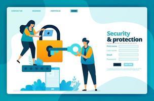 målsidesvektordesign för säkerhet och skydd. design för webbplats, webb, banner, mobilappar, affisch, broschyr, mall, skylt, välkomstsida, marknadsföring, omslag, visitkort, annons