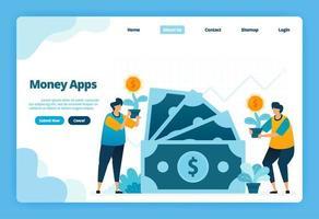 målsida med pengarappar. val av bank och finansiella investeringar. illustration av målsida, webbplats, mobilappar, affisch, flygblad vektor