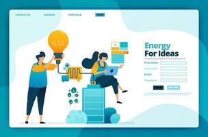 Landing Page Vector Design von Energie für Ideen. Design für Website, Web, Banner, mobile Apps, Poster, Broschüre, Vorlage, Werbetafel, Begrüßungsseite, Promotion, Cover, Visitenkarte, Werbung