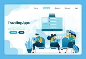 Zielseite von Reise-Apps. Kaufen Sie Flugtickets für Ferien und Geschäftsreisen. Illustration von Landing Page, Website, mobilen Apps, Poster, Flyer
