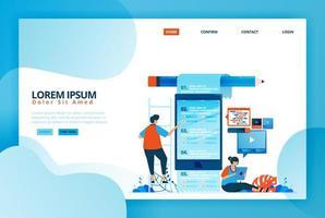 Cartoon-Illustration für Online-Prüfungen und Umfragen. mobile Apps für Fernunterricht. moderne Bildung und zukünftige Studienmethoden. Vektordesign für Landing Page, Web, mobile Apps, Banner, Poster