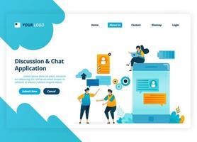 vektor målsidesdesign av diskussions- och chattappar. chatbot-teknik för mobil. illustration av målsida, webbplats, mobilappar, affisch, flygblad