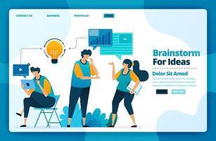 Landingpage-Vektor-Design von Brainstorming für Ideen. Design für Website, Web, Banner, mobile Apps, Poster, Broschüre, Vorlage, Werbetafel, Begrüßungsseite, Promotion, Cover, Visitenkarte, Werbung