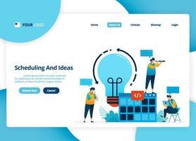 Vektor-Landingpage-Design von Zeitplanung und Ideen. Brainstorming-Idee für die Planungsstrategie. Illustration von Landing Page, Website, mobilen Apps, Poster, Flyer