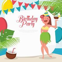 Tropisk födelsedagsfest mall vektor