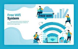 Vektor-Illustration der Landingpage des kostenlosen WLAN-Systems für eine billigere und effizientere Internetverbindung. Design für Website, Web, Banner, mobile Apps, Poster, Broschüre, Vorlage, Anzeigen, Homepage