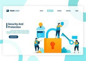 vektor målsidesdesign av säkerhet och skydd. säkerhetssystem med ett lösenord. illustration av målsida, webbplats, mobilappar, affisch, flygblad