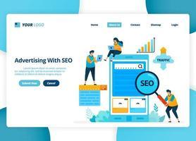 Vektor Landing Page Design der Werbung mit SEO. Ziel-Keywords zur Steigerung des Datenverkehrs. Illustration von Landing Page, Website, mobilen Apps, Poster, Flyer