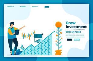 målsidesvektordesign för växande investeringar. design för webbplats, webb, banner, mobilappar, affisch, broschyr, mall, skylt, välkomstsida, marknadsföring, omslag, visitkort, annons vektor