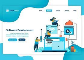 Vektor-Landingpage-Design der Softwareentwicklung. Flussdiagramm bei der Planung und Gestaltung von Software. Illustration von Landing Page, Website, mobilen Apps, Poster, Flyer vektor