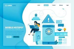 Zielseiten-Vektor-Design von WLAN und Hotspot. Design für Website, Web, Banner, mobile Apps, Poster, Broschüre, Vorlage, Werbetafel, Begrüßungsseite, Promotion, Cover, Visitenkarte, Werbung vektor