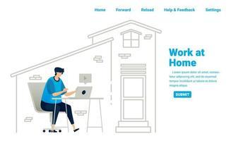 Arbeit von zu Hause aus während der Covid-19-Pandemie. freiberufliche Jobs und Geschäftsmöglichkeiten zu Hause mit Internetverbindung. Illustrationsdesign von Landingpage, Website, mobilen Apps, Poster, Flyer, Banner vektor