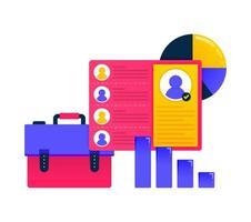 Design für Leistung und Fortschritt der Mitarbeiter, Entwicklung, Strategie, Planung. kann auch für Geschäfts-, Symboldesign- und Grafikelemente verwendet werden vektor