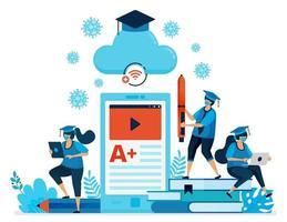 vektorillustration av ny normal utbildning och lärande med mobilappar och e-klassrum. design kan användas för målsida, webbplats, mobilapp, affisch, flygblad, banner vektor