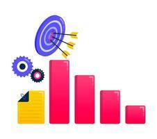 Design zum Erreichen von Zielen, Geschäftszielen, Pfeilen und Pfeilen, Geschäftsmotivation, Geschäftsdiagrammen. kann auch für Geschäfts-, Symboldesign- und Grafikelemente verwendet werden vektor