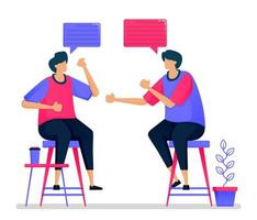 människor chattar och brainstormar genom att sitta på höga stolar, möten och samtal. illustrationer kan användas för webbplatser, webbsidor, målsidor, mobilappar, banners, flygblad, affischer vektor