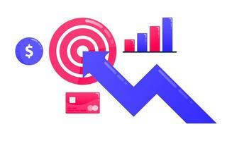 Design zum Erreichen von Zielen, Geschäftszielen, Pfeilen und Pfeilen, Geschäftsmotivation, Geschäftsdiagrammen, finanzieller Leistung. kann auch für Geschäfts-, Symboldesign- und Grafikelemente verwendet werden vektor