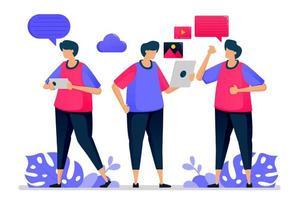 Die Leute unterhalten sich miteinander, unterhalten sich ungezwungen und sagen Hallo, wenn sie wieder zur Arbeit gehen. Illustrationen können für Websites, Webseiten, Zielseiten, mobile Apps, Banner, Flyer und Poster verwendet werden vektor