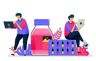 flache Vektorillustration des Gesundheitswesens. Flüssigmedizin, Pille und Arzneimittelanbieter für Drogerien. Design für das Gesundheitswesen. kann für Zielseite, Website, Web, mobile Apps, Poster, Flyer verwendet werden vektor