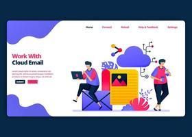 Vektor-Cartoon-Banner-Vorlage für Arbeiten mit Cloud-E-Mail und Computer-Management. Kreative Designvorlagen für Zielseiten und Websites für Unternehmen. kann für Web, mobile Apps, Poster, Flyer verwendet werden vektor