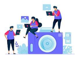 Vektorillustration für Digitalkamera oder Taschenkamera. einfache Cartoon-Kamera. Fotos teilen und aneinander senden. kann für Zielseite, Website, Web, mobile Apps, Poster, Flyer verwendet werden