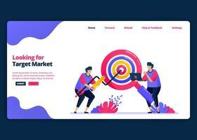 Vektor-Cartoon-Banner-Vorlage für die Suche nach Zielmärkten und Kundenanteilen. Kreative Designvorlagen für Zielseiten und Websites für Unternehmen. kann für Web, mobile Apps, Poster, Flyer verwendet werden vektor
