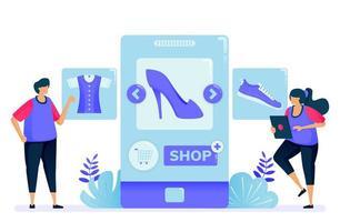 vektorillustration för shopping med mobilappar för modeprodukter. öppna en butik och bli en säljare med appar. kan användas för målsida, webbplats, webb, mobilappar, affischer, flygblad