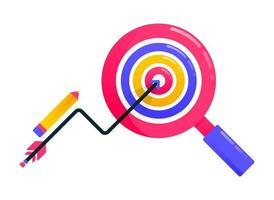 Design zum Erreichen von Zielen, Geschäftszielen, Pfeilen und Pfeilen, Geschäftsmotivation, Lupe, Zielfindung. kann auch für Geschäfts-, Symboldesign- und Grafikelemente verwendet werden vektor