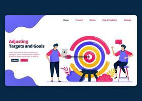 Vektor-Cartoon-Banner-Vorlage zum Anpassen von Zielen und Vorgaben an den Markt und die Kunden. Kreative Designvorlagen für Zielseiten und Websites für Unternehmen. kann für Web, mobile Apps, Poster verwendet werden vektor