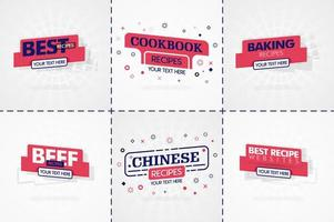 rosa Kochbuchset für Lebensmittel- und Rezeptmagazine. Restaurantmenütitel oder Abzeichen für Lebensmittelgeschäfte und Restaurants. minimalistisches Design für Rezeptbanner vektor