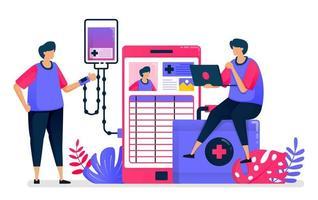 flache Vektorillustration von mobilen Diagnose- und Behandlungsdiensten für Patienten. Gesundheitstechnologie. Design für das Gesundheitswesen. kann für Zielseite, Website, Web, mobile Apps, Poster, Flyer verwendet werden