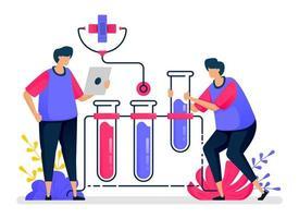 platt vektorillustration av kemiexperiment med provrör för hälsoinlärning och utbildning. design för vården. kan användas för målsida, webbplats, webb, mobilappar, affischer, flygblad vektor