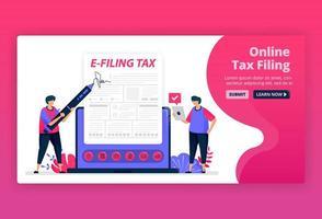 vektorillustration av arkivering och betalning av inkomstskatt med onlineformulär. digital skatterapportering med e-formulär. appar för skatteräkningar. kan användas för målsida, webbplats, webb, mobilappar, affischer, flygblad vektor