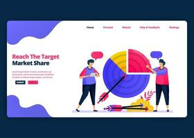 Vektor-Cartoon-Banner-Vorlage zur Erreichung des Ziels von Marktanteil und Umsatzgewinn. Kreative Designvorlagen für Zielseiten und Websites für Unternehmen. kann für Web, mobile Apps, Poster, Flyer verwendet werden vektor