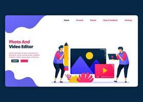 Vektor-Cartoon-Banner-Vorlage für die Video- und Fotobearbeitung mit Pro-Software. Kreative Designvorlagen für Zielseiten und Websites für Unternehmen. kann für Web, mobile Apps, Poster, Flyer verwendet werden vektor