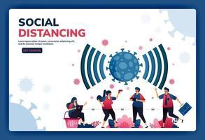 Zielseiten-Vektorillustration von sozialer Distanzierung und neuen normalen Protokollen für Arbeit und Aktivitäten während einer Pandemie. Symbol Symbol für Virus, Radar, Signal, Netzwerk und WLAN von covid-19. Web, Apps vektor