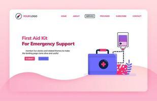 Landingpage Illustration Vorlage des Erste-Hilfe-Kits für die Notfallunterstützung. Infusion für Notaufnahmen. Gesundheitsthemen. kann für Zielseite, Website, Web, mobile Apps, Poster, Flyer verwendet werden vektor