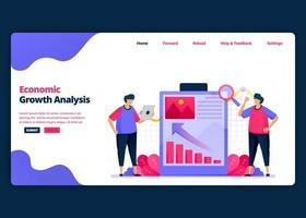vektor tecknad banner mall för presentation för ekonomisk tillväxt och prestanda. målsida och webbplats kreativa designmallar för företag. kan användas för webb, mobilappar, affischer, flygblad