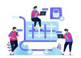 vektorillustration för enkel kundvagn och vagn. kassaknapp för onlinebutik, e-handel, livsmedelsbutik och stormarknad. kan användas för målsida, webbplats, webb, mobilappar, affischer, flygblad vektor