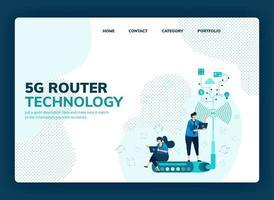 Vektor-Illustration für 5g Router und Technologie zur Erhöhung der Netzwerkgeschwindigkeit, Stabilität der WLAN-Internetverbindung. Design kann für Landing Page, Vorlage, UI UX, Web, Website, Banner, Flyer verwendet werden