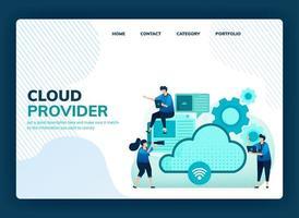 Zielseiten-Vektorillustration für Cloud-Anbieter für Netzwerk, Internetverbindung, Kommunikation, Hosting-Server, Rechenzentrum. Design kann für Vorlage, Benutzeroberfläche, Web, Website, Banner, Flyer verwendet werden