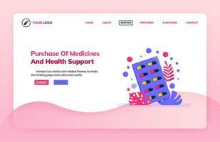 målsidesillustrationsmall för inköp av medicin och hälsostöd. onlineapotekens webbplats. hälsoteman. kan användas för målsida, webbplats, webb, mobilappar, affisch, flygblad vektor