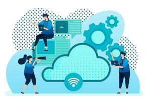 Vektor-Illustration für Cloud-Anbieter für Netzwerk, Internetverbindung, Kommunikation, Hosting-Server, Rechenzentrum. Design kann für Landing Page, Vorlage, UI UX, Web, Website, Banner, Flyer verwendet werden