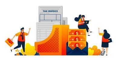 Steuerzahlungsdokumente für Unternehmen und Einzelpersonen. Geld in einem Umschlag. Das Vektorillustrationskonzept kann für Zielseite, Vorlage, Benutzeroberfläche, Web, mobile App, Poster, Banner, Website, Flyer verwendet werden