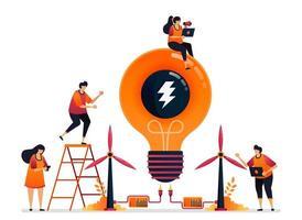 Vektor-Illustration von alternativer Energie und nachhaltiger natürlicher Energie für die Ideenkreativität von Elektrizität. Grafikdesign für Zielseite, Web, Website, mobile Apps, Banner, Vorlage, Poster, Flyer vektor