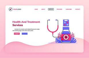 Målsidesillustrationsmall för allmän hälso- och behandlingstjänst för sjukhus, kliniker och apotek. hälsoteman. kan användas för målsida, webbplats, webb, mobilappar, affisch, flygblad vektor