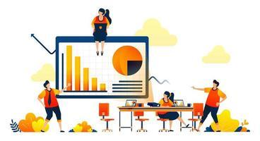 affärsmöte i arbetsytan med projektorer, debatt, stapeldiagram. vektorillustrationskoncept kan användas för målsida, mall, ui ux, webb, mobilapp, affisch, banner, webbplats, flygblad vektor